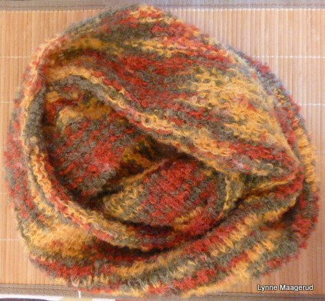 Handknitted boucle cowl in retro colors. by LynnesEbooks on Etsy