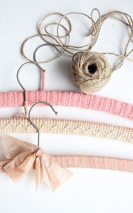 Hangers - Covered coathangers - knit, crochet and lace