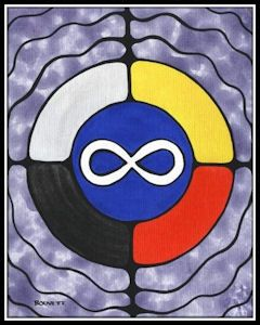 Medicine Wheel with MÉTIS SYMBOL   by Métis Artist Bouvette