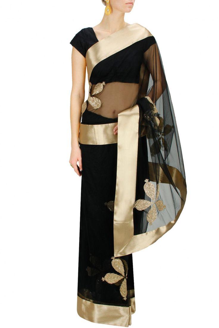 Black leaf embroidered sari with black blouse by Vasavi Shah. Shop now at www.perniaspopups... #designer #jewellery #fashion #indian #perniaspopupshop #happyshopping
