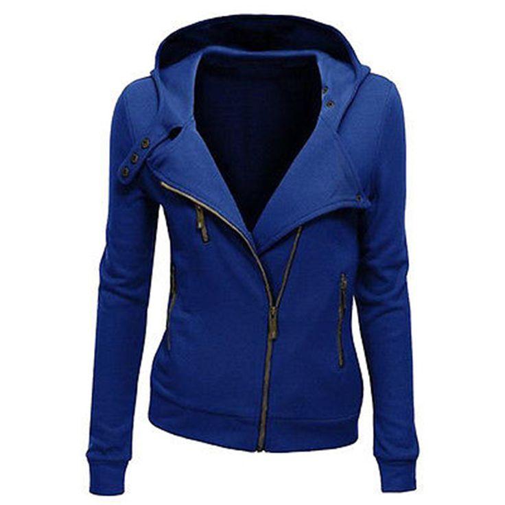Женщины Дамы Куртка С Капюшоном С Длинным Рукавом Толстовки Кофты Zip куртки для женщин Верхняя Одежда купить на AliExpress