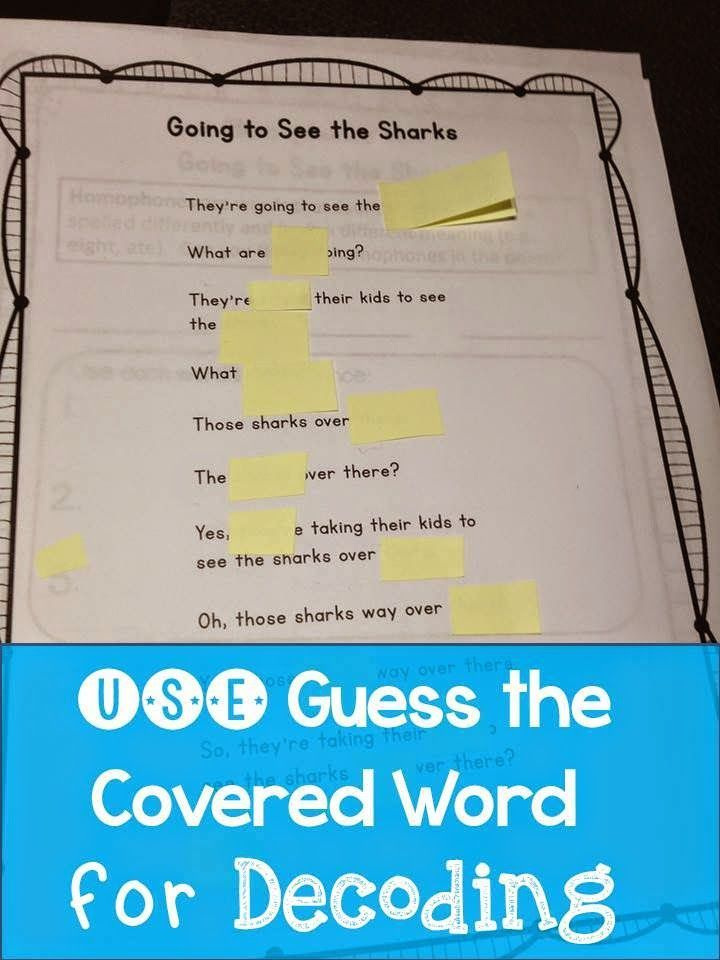 Use guess the covered word with your poem of the week to help with decoding! Great cloze reading activity.