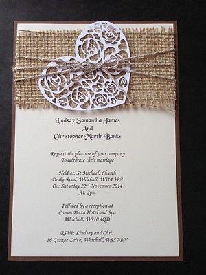 Handmade Rustic Vintage Shabby Chic Hessian Wedding Invitations Heart