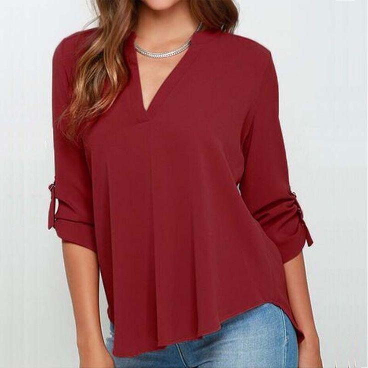 2017 New Summer Plus Size Blusas V-neck  Blouse Women Blouses Folds Long Sleeve Loose Chiffon Shirt 7 Color S-5XL TM17020701