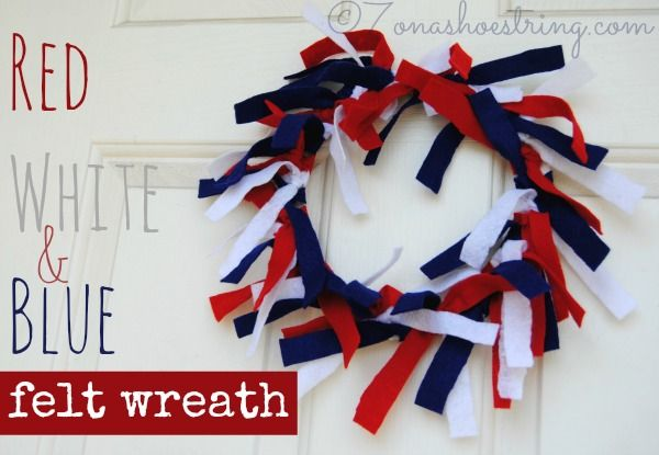 Red White and Blue Felt Wreath Craft--  DIY Red, White & Blue wreath from @Staci Flick Salazar {7 on a Shoestring} #cbias #July4Crafts
