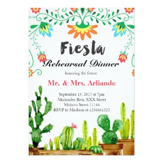 You probably don't need an excuse for a fiesta, but why not?  This Mexican fiesta invitation will set the right mood for your south-of-the-border dinner rehearsal. Or, if you'd rather, choose from a variety of other styles, sizes and paper types or customize to suit your fancy, adding your own photographs. You can even print your invitations on high quality vinyl laminated magnetic cards with a high gloss finish and full-color printing. Place your order and then visit us at…
