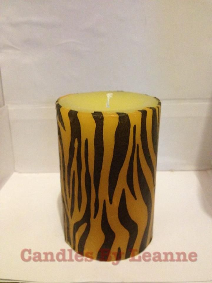 Tiger Print Medium Pillar Candles 12 Available In Various Scents
