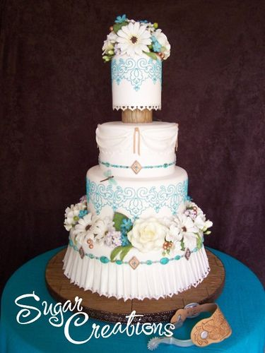 Turquoise Wedding Cake by RebeccaSutterby, via Flickr