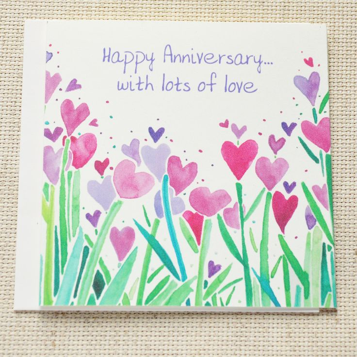 Happy Anniversary Card, Cute Happy Anniversary Card for couple, Happy Anniversary card for wife/husband, Hearts, Love Card by LittleLightCardCo on Etsy