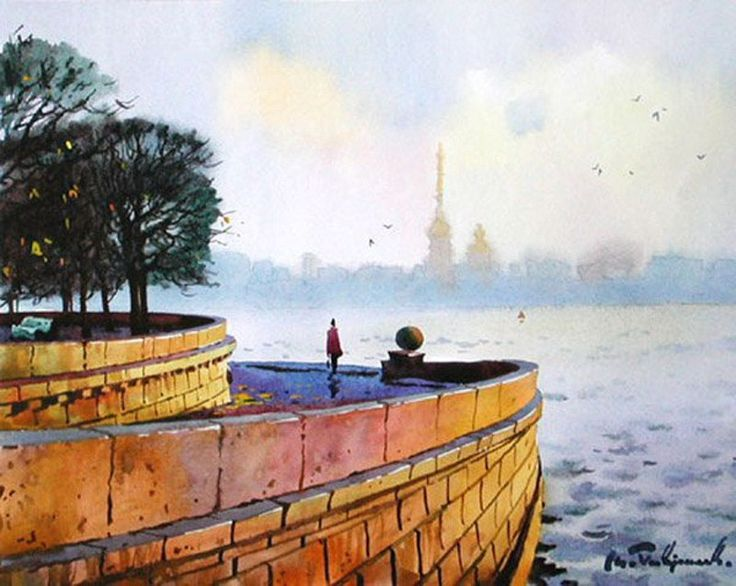 Saint Petersburg by Modest Gavrilov. watercolor_Модест Гаврилов. акварель