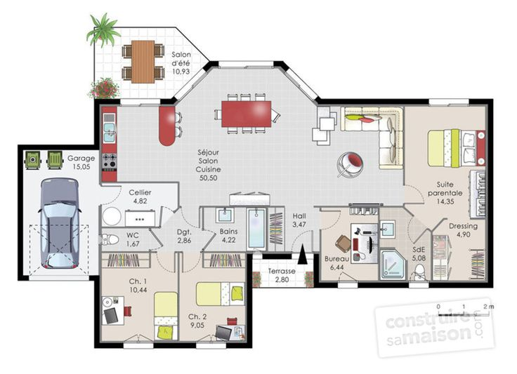 Découvrez les plans de cette maison de plainpied 1 sur www.construiresamaison.com >>>