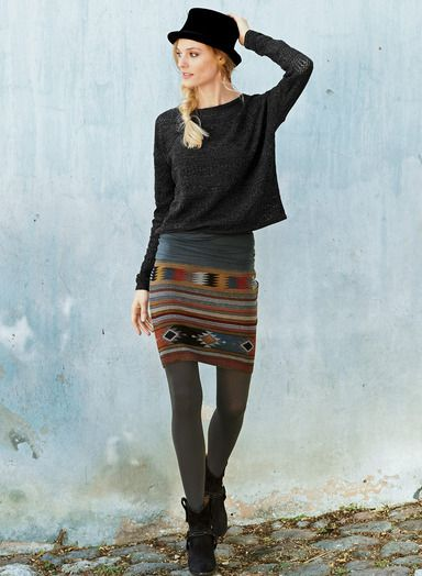 Oaxaca Pima Cotton Miniskirt Our jacquard knit mini, patterned after a Oaxacan textile, holds its shape in pima (94%) and Lycra (6%). Cranberry, grey, copper and chambray.