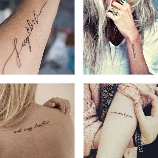 dainty script tattoos & I love the top left tattoo placement!