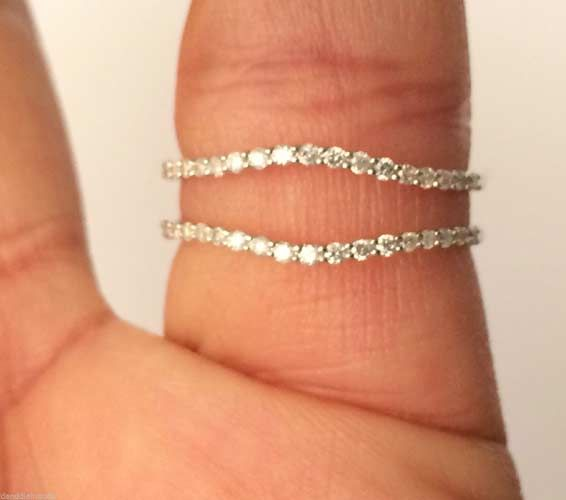 14kt White Gold Insert Diamonds Solitaire Enhancer Ring Guard Wrap Wedding Band (0.25ct. tw) by RG&D