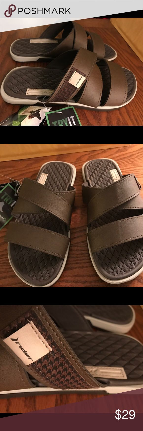 """Rider Slip On Sandals Flip Flops Size 10 Riders are Brazilian shoes and made to Eco friendly standards. They will mot soak up water and """"squish"""" and all materials are recyclable. Choose Valencia Blue or Brown. Size 10 Men's. Rider Shoes Sandals & Flip-Flops"""