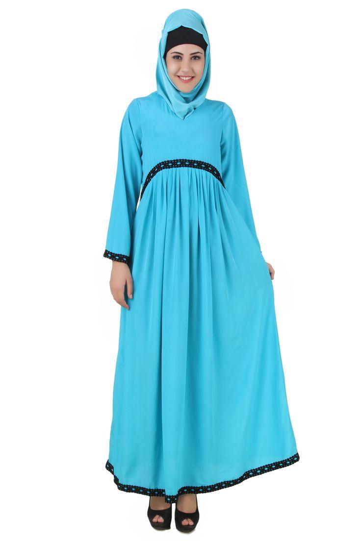 Buy now--> Whatsapp: +91-8826009522 (#Worldwide) MyBatua #Malakah #Maternity #Turquoise #Crepe #Abaya | Available in sizes XS to 7XL, lenth 50 to 66 inches.  Buy link : https://www.mybatua.com/catalogsearch/result/?q=Malakah+Maternity+Turquoise+Crepe+Abaya