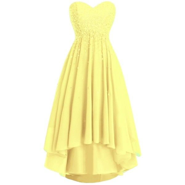JudyBridal Sweetheart Bridesmaid Homecoming Hi low Prom Evening Gowns ($147) ❤ liked on Polyvore featuring dresses, gowns, yellow evening gown, prom ball gowns, yellow ball gown, homecoming dresses and bridesmaid gown