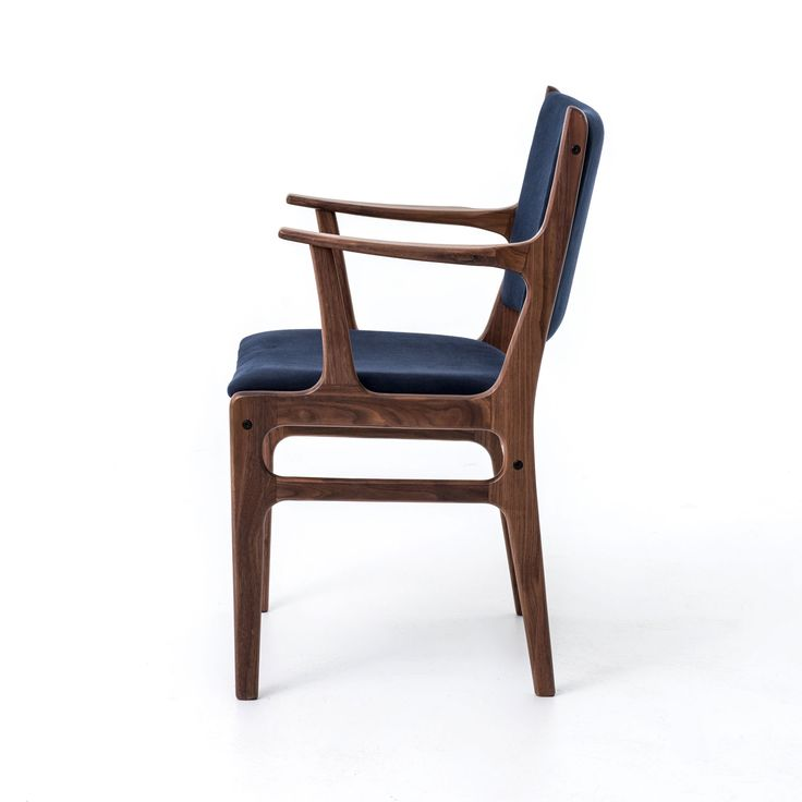 Dining Chairs -  Bina Arm Chair-Dark Blue Canvas/Walnut VBNI-01N-01 $300 each