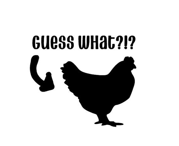 Guess What Vinyl Decal Chicken Butt Chicken Coops