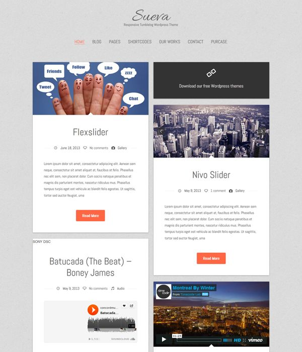 Sueva is free WordPress theme in HTML5 and CSS3, suitable for personal blogs in Tumblr style #Wordpress #Theme #WordpressTheme