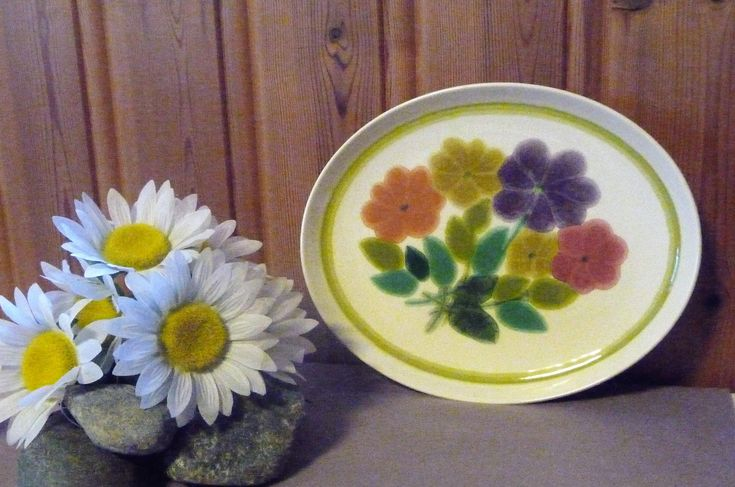 Vintage Franciscan Pottery England Ceramic Platter, English Serving Tray, Floral Plate, Retro Flowers, Farmhouse Kitchen by Grandchildattic on Etsy