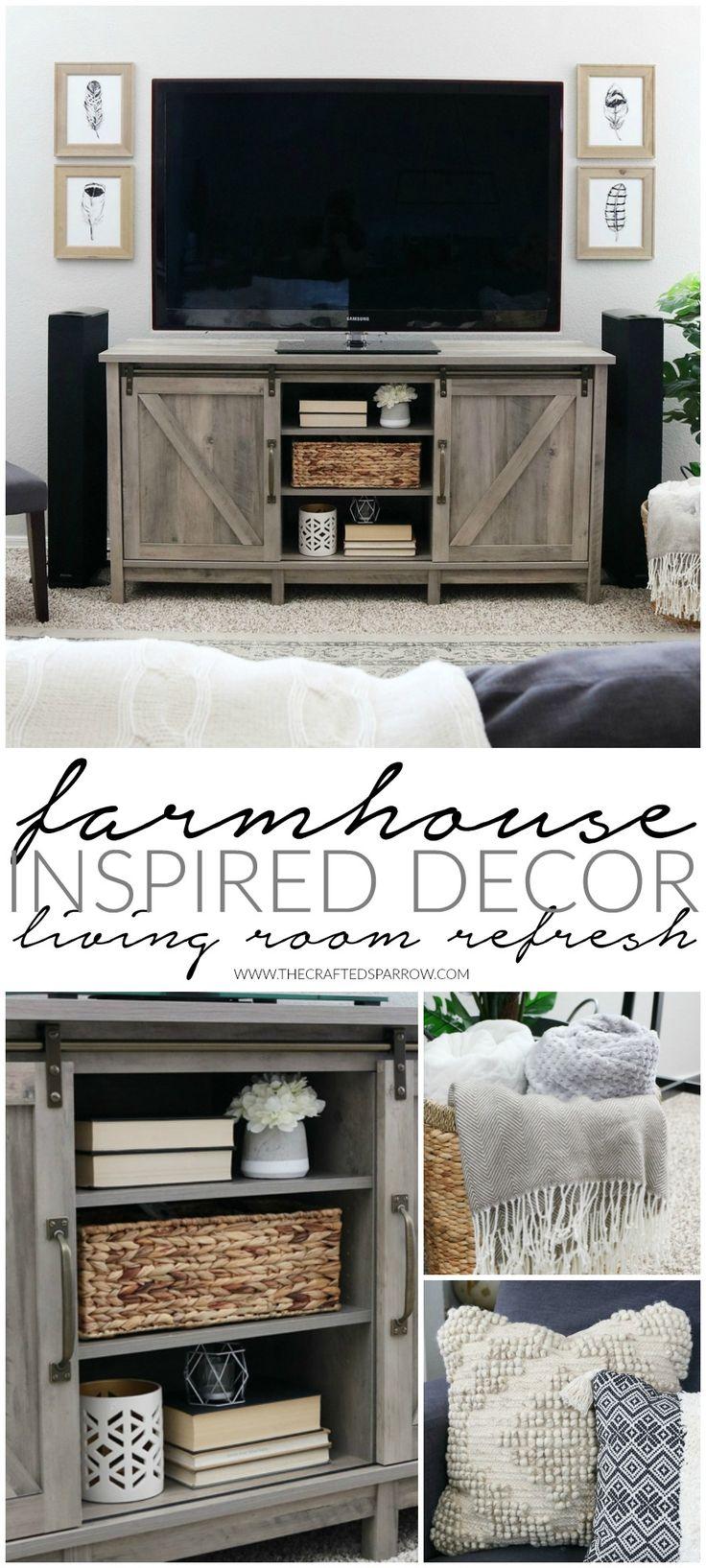 easy farmhouse inspired decor living room refresh