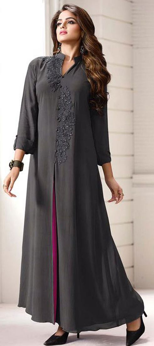 474789: Black and Grey color family stitched Long Kurtis .