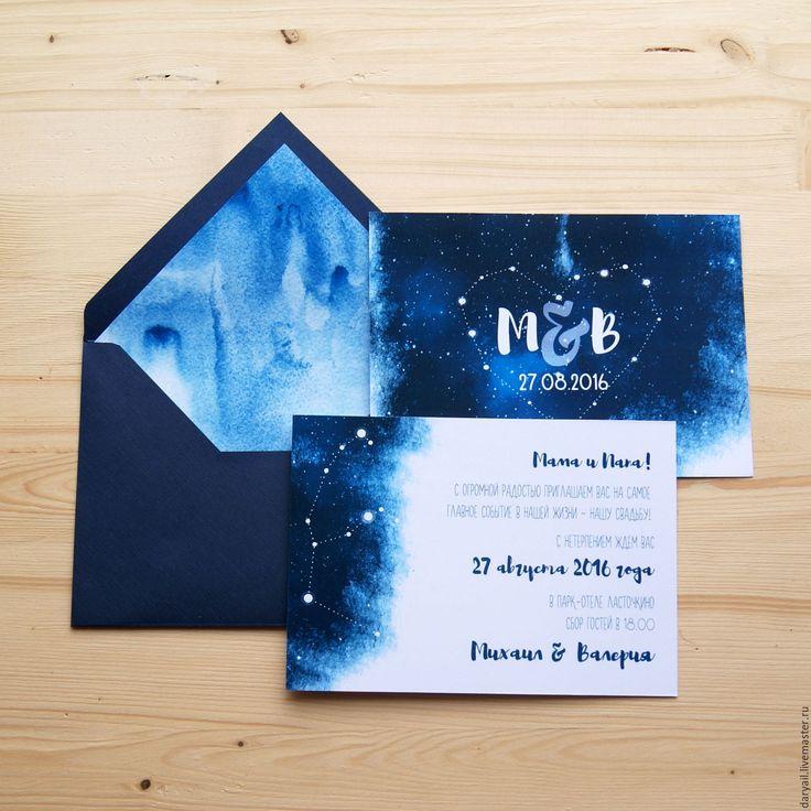 """Купить Приглашение на свадьбу """"Созвездие"""" - тёмно-синий, приглашения на свадьбу, пригласительный, пригласительные открытки, приглашение"""