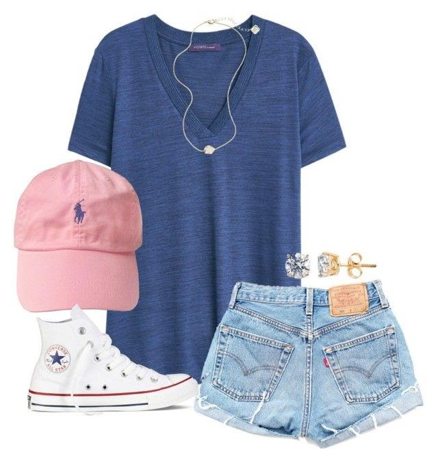#summer #outfits / Blue V Tee + Pink Cap