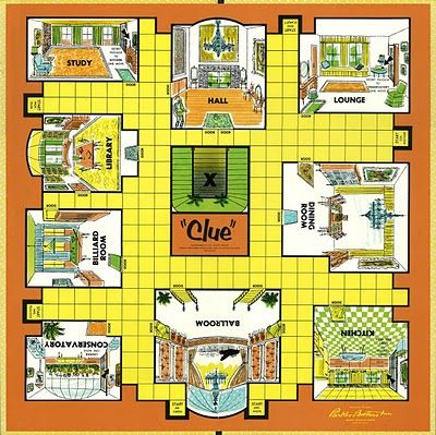 "vintage board game ""clue"" 1963 ""It was Mr. Plum, with the knife in the Dining Room!"" or was it ""Colonel Mustard with the candlestick in the kitchen?"""