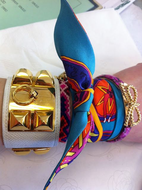 Hermes scarf as a bracelet Collier de Cain Bracelet and a Twilly that is a mini scarf