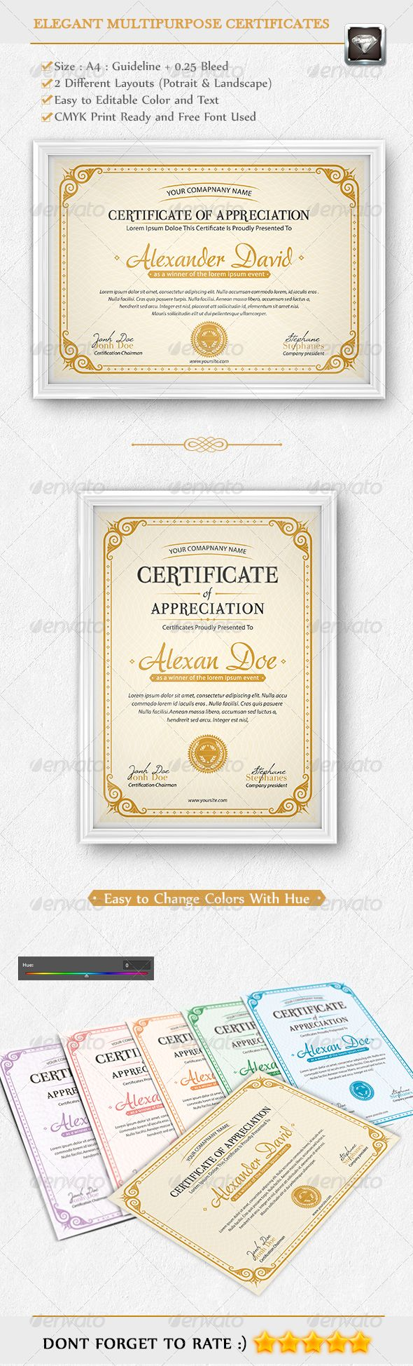 Elegant Multipurpose Certificates #certificate #template When I don't have time to create my own templates, I support other artist. This one is very well done! Support your fellow artist!