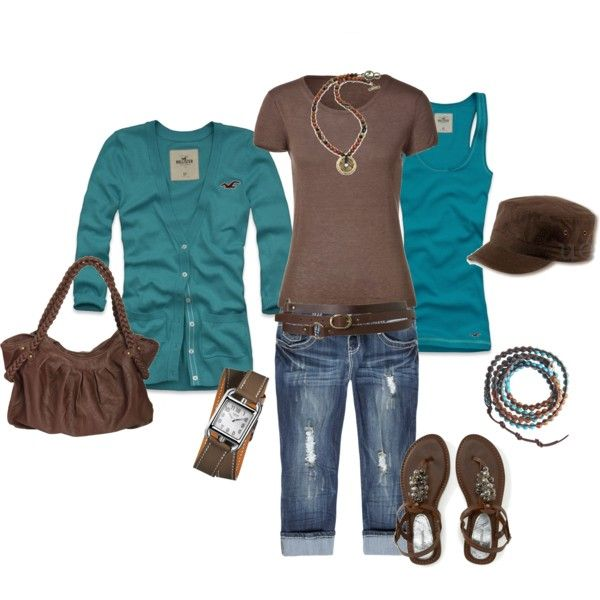 teal & brown.Early Fall Outfit, Colors Combos, Summer Outfit, Color Combos, Teal Together, Brown Blu, Colors Combinations, Brown Pretty, Dreams Closets