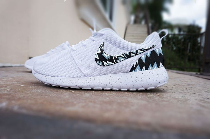 Custom Nike Roshe Run shoes, White with grey and black aztec design,  triangles, grey white and black abstract design, womens shoes | Aztec  designs and Nike ...