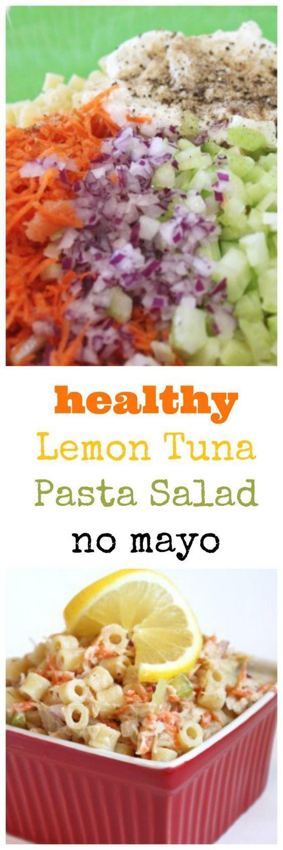 healthy lemon tuna pasta salad with no mayo @createdbydiane