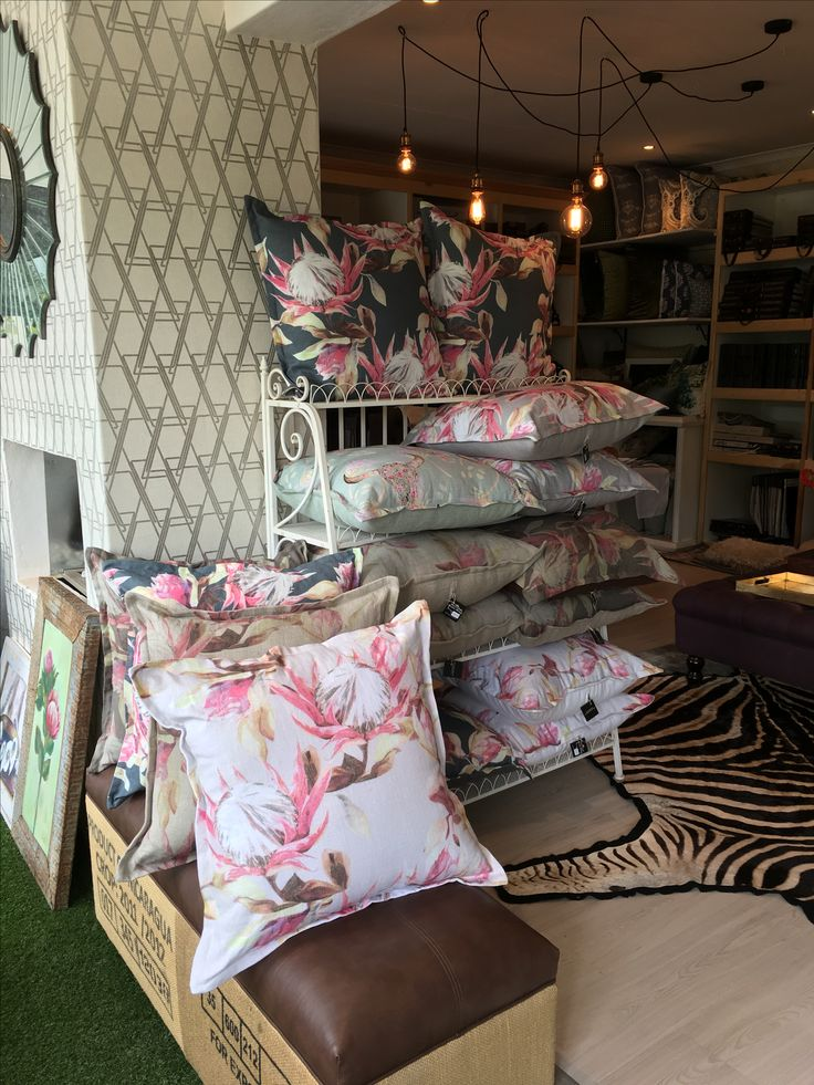 A selection of The Print Portfolio rnage, made up into cushions by Michelle Fortune Interior Designers. www.whatnot.co.za