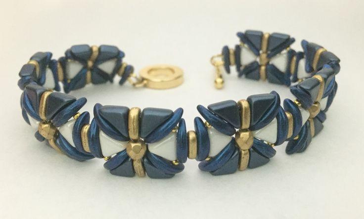 Bracelet made with kheops, tango and crescent beads -Beautiful Rain Jewelry USA