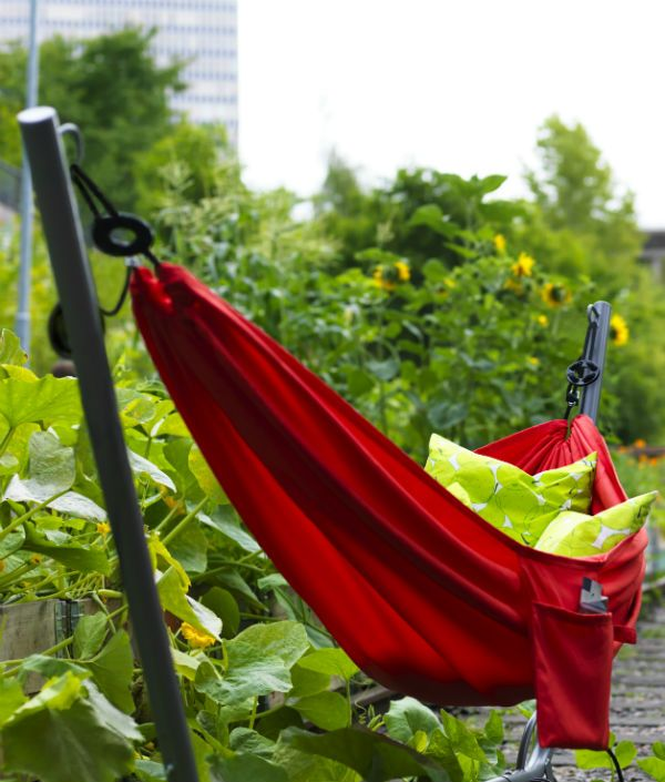 """It's time for a little """"me-time"""" and the GARO/RISO hammock is here to help. With the easy-to-move stand, all you have to do is roll it to the perfect shady spot, lay down and relax!"""