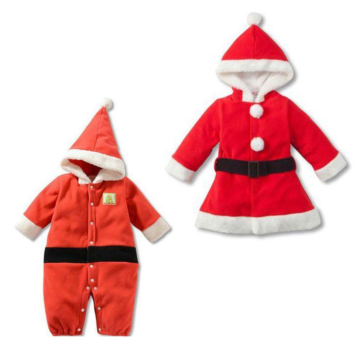 Новый 2015 мальчиков девочек с длинным рукавом красный с капюшоном ребенка комбинезон платья хлопок детской одежды рождественские детской одежды