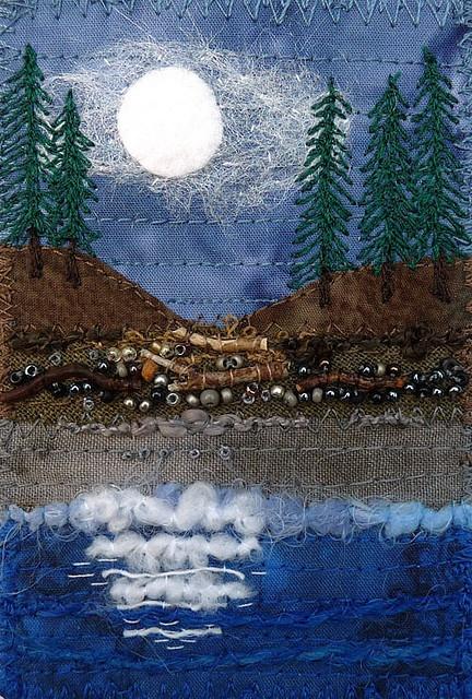 Kirsten's Fabric Art  Postcard - Moonlight