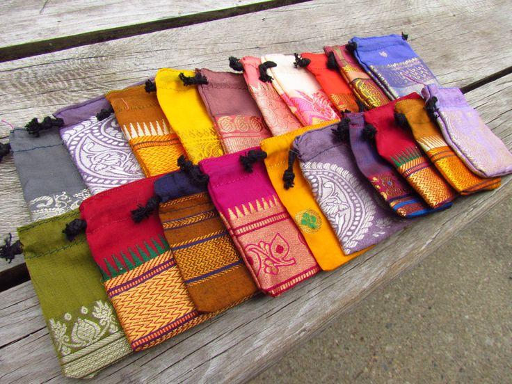 20 Small Sari Bags - Recycled Sari Bags - Fabric Gift Bags - Wholesale Jewelry…