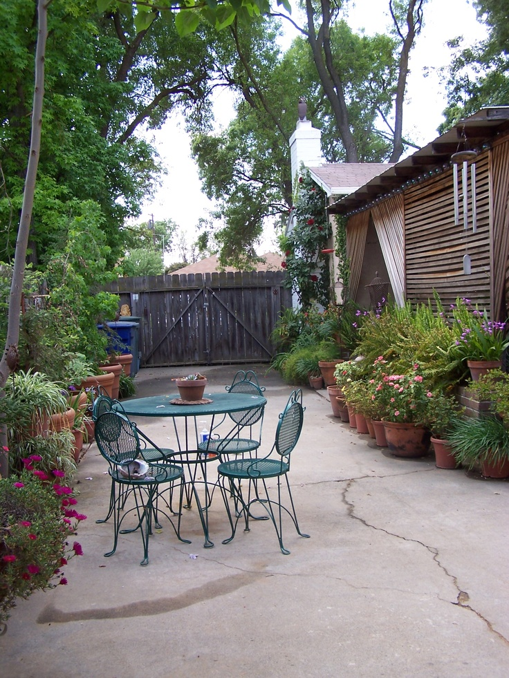driveway turned potted patio garden lathe shaded patio on the right in deb kinchloes - Driveway Patio Ideas