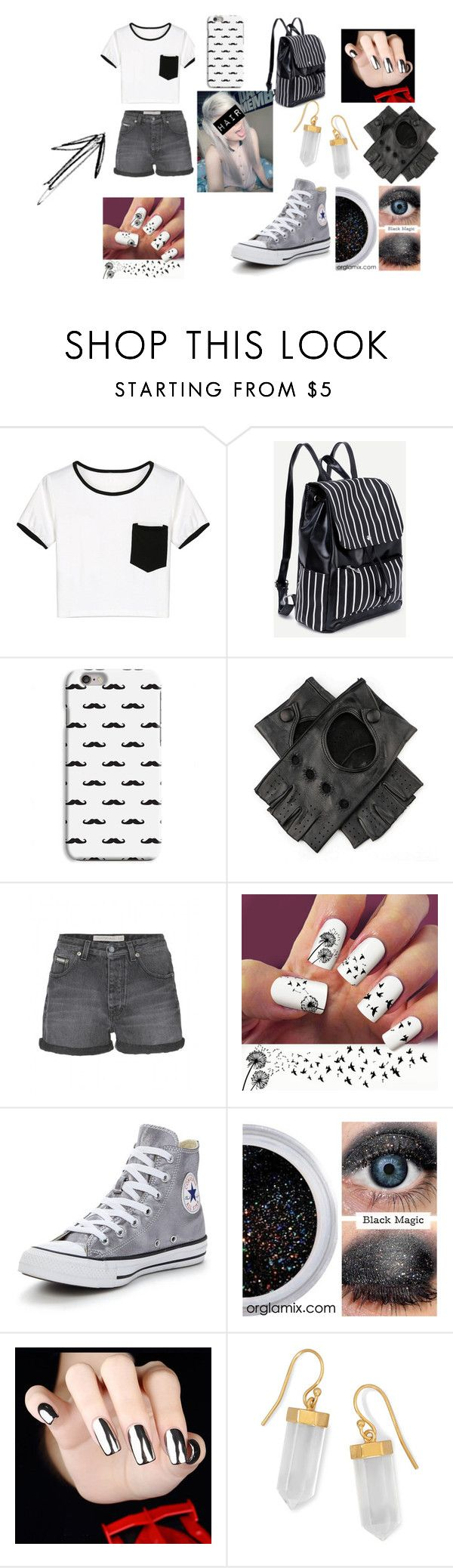 Emo- White and gray by whitenoiseiswatching on Polyvore featuring WithChic, Calvin Klein Jeans, Converse, BillyTheTree and Black