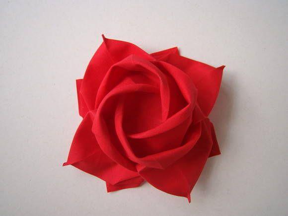 rosa-cartão origami tecido vermelho