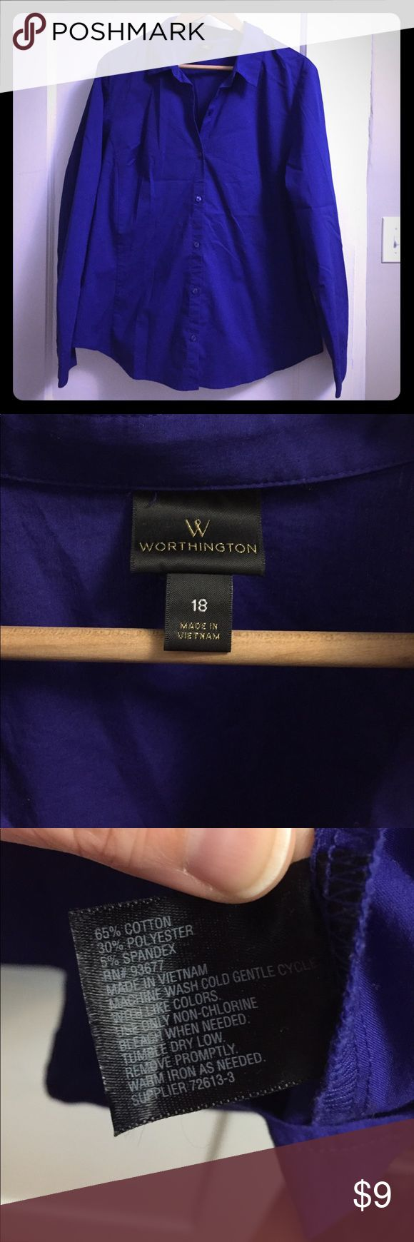 Royal blue/purple women's dress shirt Comfortable semi fitted button down women's dress shirt. Shirt has a nice stretch to it making it very comfortable! Worn only once! Worthington Tops Button Down Shirts