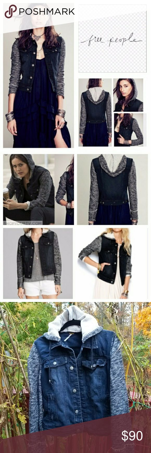 Free People Knit Hooded Distressed Denim Jacket L Very lightly worn! Free People Jackets & Coats