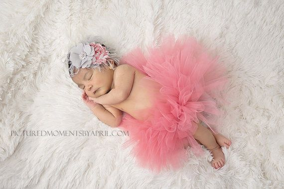 Tutu and Headband Set - Luxe Coral Pink - Precious Jewel Collection - Newborn Tutu - Girls Infant Baby Child Toddler Tutu on Etsy, $45.00