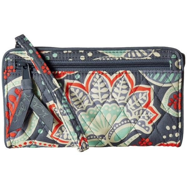 Vera Bradley Front Zip Wristlet (Nomadic Floral) Wristlet Handbags ($34) ❤ liked on Polyvore featuring bags, handbags, clutches, zip wristlet, wristlet clutches, quilted purses, purse wristlet and man bag