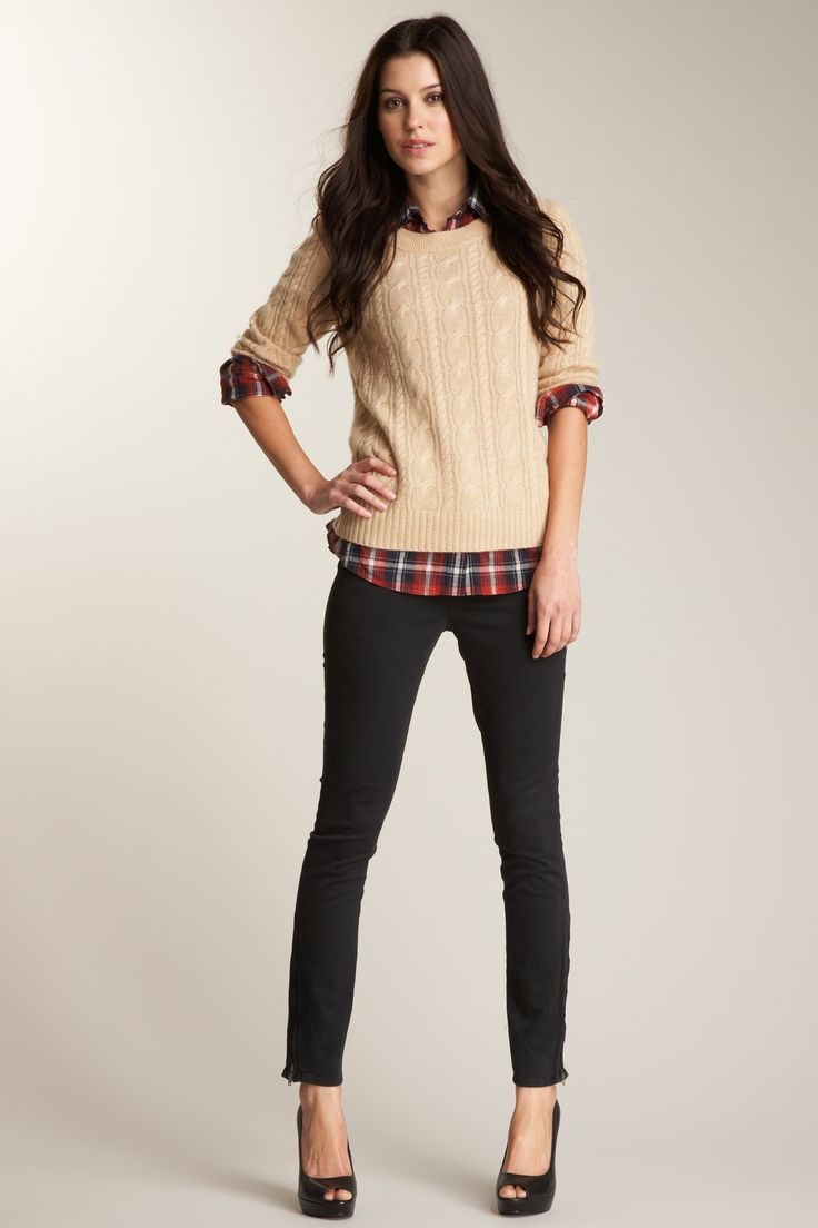 cozy chic.Fashion, Skinny Jeans, Style, Clothing, Fall Outfit, Plaid Shirts, Work Outfit, Knits Sweaters, Cable Knits