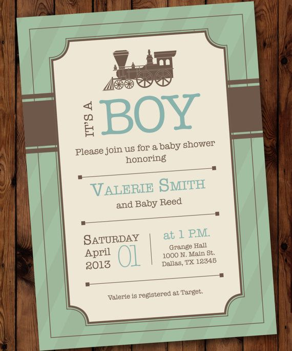 Vintage Train Baby Shower Invitation Train by PartiesbytheBundle